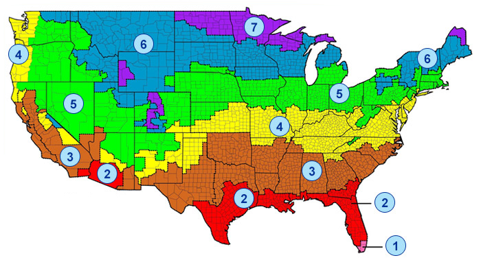 Insulation r-value map zone