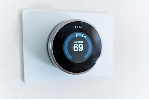 Programmable thermostat on tablet screen