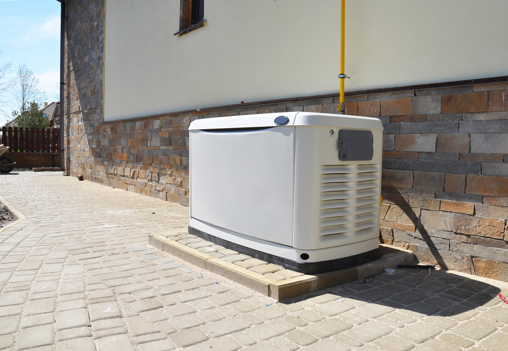 Backup white natural gas generators outside of home