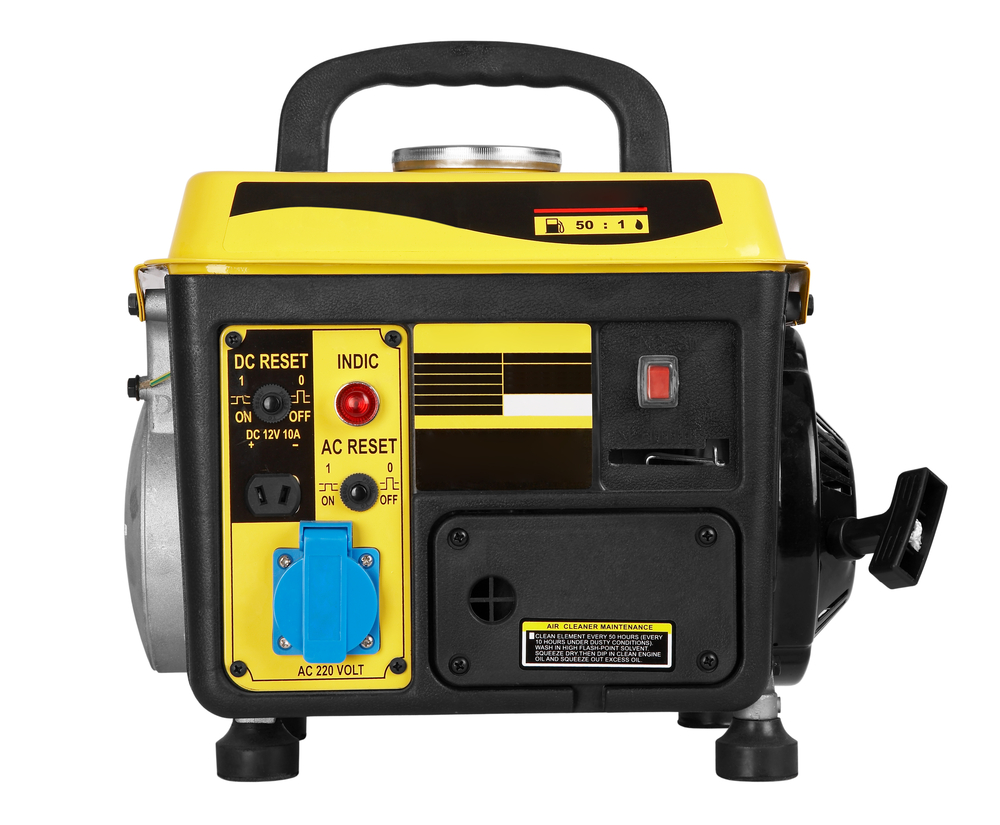 Yellow and black portable generator on white background